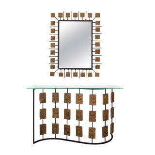 "1970s Console and Mirror by Mario Giani ""Clizia"", Steel, Terracotta - Italy For Sale"