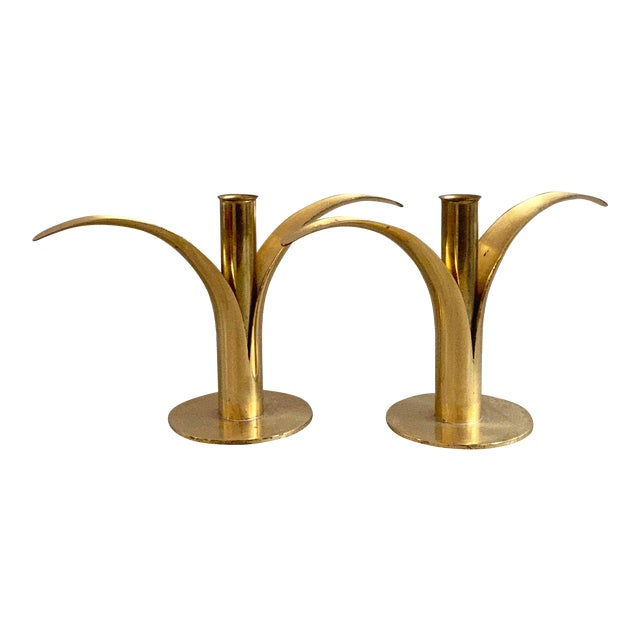 Swedish Mid-Century Brass Candlesticks by Ystad Metall - a Pair For Sale