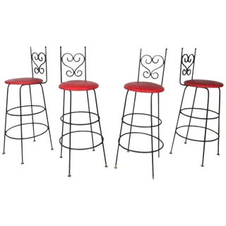 Vintage Wrought Iron Bar Stools - Set of 4 For Sale