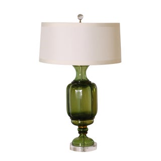Green Marbro Glass Lamp, C. 1960 With Shade For Sale