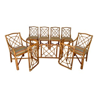 Vintage Rattan Dining Set- 6 Chairs and Table Base For Sale