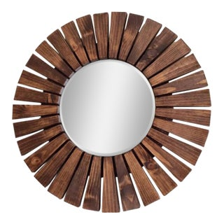 Handmade Walnut Sunburst Wall Mirror