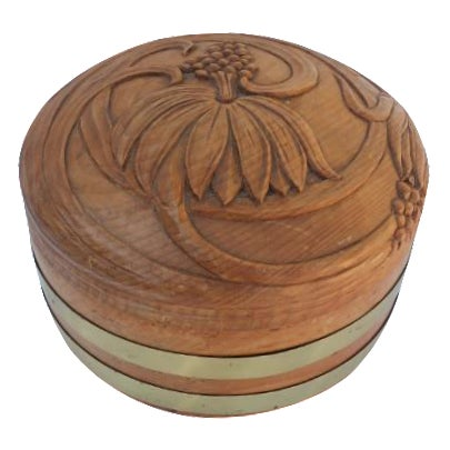 Round Hand-Carved Wood & Brass Box - Image 1 of 8