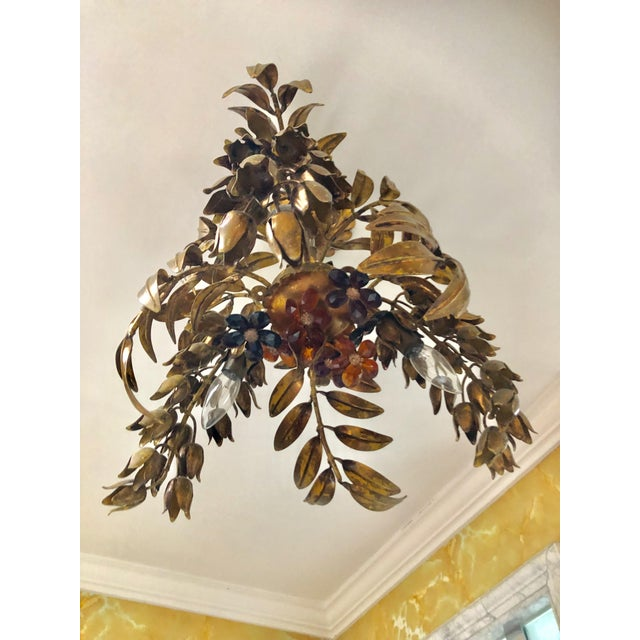 Art Nouveau Maison Bagues Style 3 Light Flush Mount Gilded Wrought Iron and Crystal Chandelier For Sale - Image 3 of 10