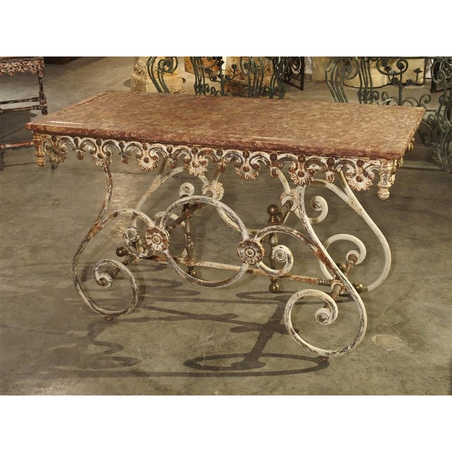 Fantastic 19th Century Iron and Bronze French Butchers Display Table With Rosso Verona Marble Top For Sale - Image 12 of 13