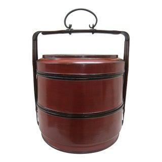 Antique Cypress Wood Basket Box For Sale