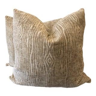 "Duralee ""Chun"" in Linen Faux Bois Chenille 22"" Pillows-A Pair For Sale"
