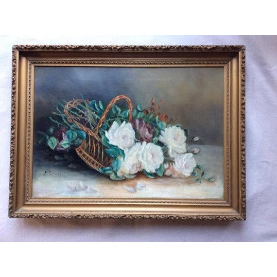 Antique Basket of White Roses Still Life Oil on Canvas For Sale - Image 5 of 6