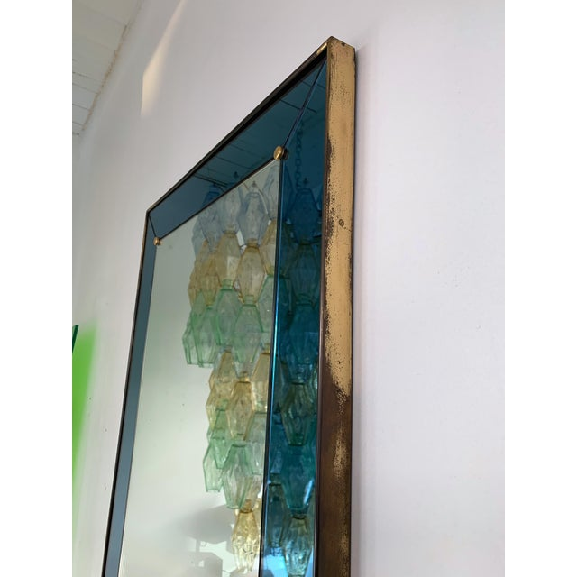 Italian Mirror Blue and Brass by Cristal Art. Italy, 1960s For Sale - Image 3 of 13