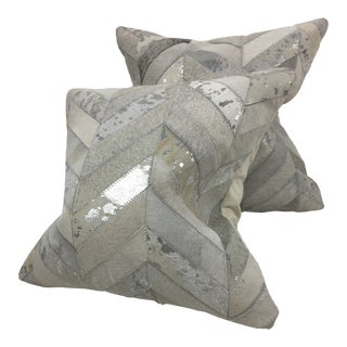 Contemporary Patchwork Cowhide Pillows – a Pair For Sale