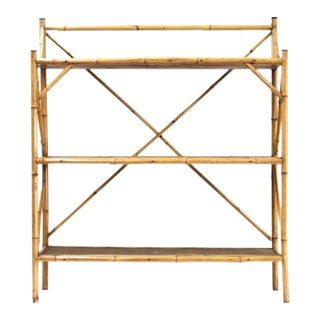 Early 20th Century English Raffia and Bamboo Three Tier Floor Shelf For Sale