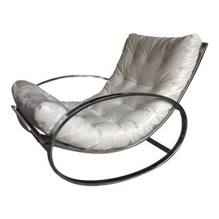Selig Chrome Leatherette Ellipse Rocking Chair For Sale