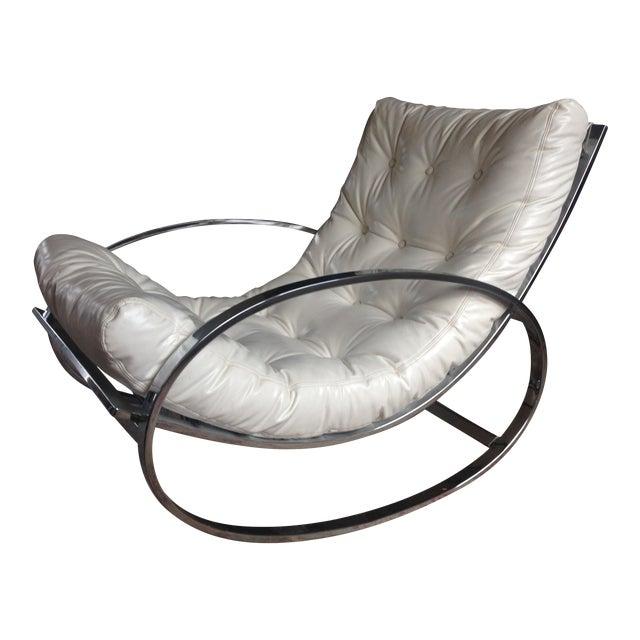 Selig Chrome Leatherette Ellipse Rocking Chair For Sale