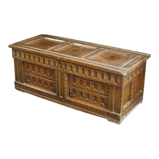17th Century English or French Oak Chest For Sale