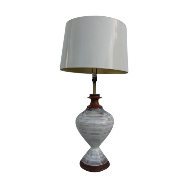 Vintage Danish Ceramic and Teak Table Lamp For Sale