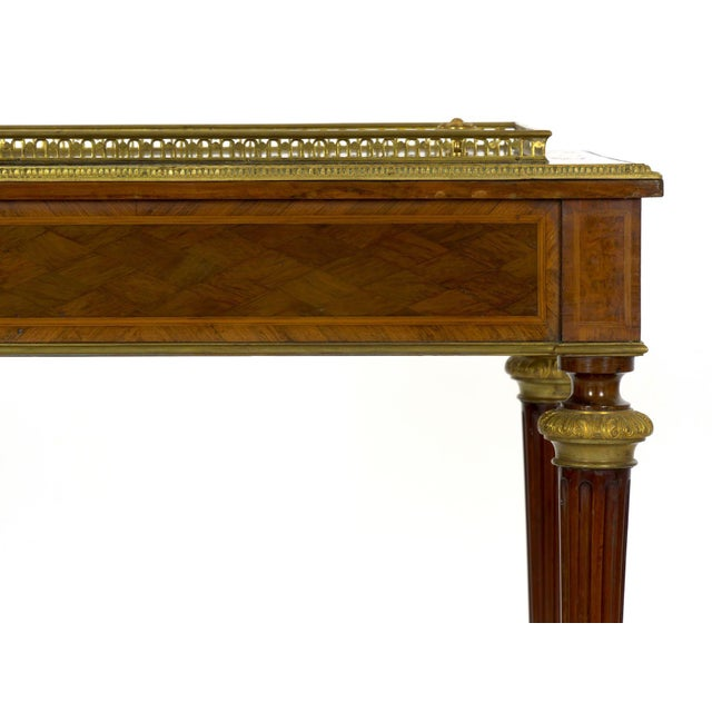 Brass Antique French Marquetry Wine Serving Accent Table by Paul Sormani & Fils For Sale - Image 7 of 13