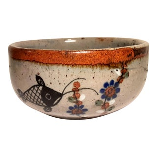 Vintage Hand Painted Mexican Tonala Stoneware Fish Ceramic Bowl For Sale