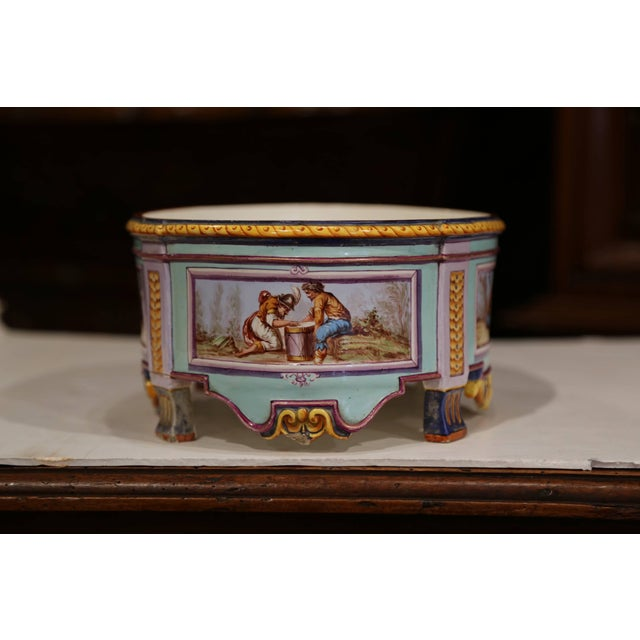 Early 20th Century, French Hand Painted Ceramic Oval Jardinière Signed For Sale - Image 9 of 12
