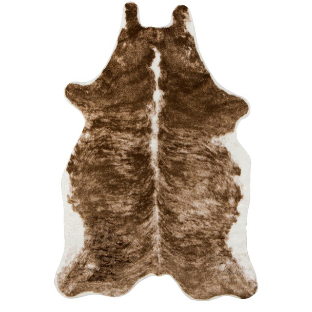 """Erin Gates by Momeni Acadia Brindle Brown Faux Hide Area Rug - 5'3"""" X 7'10"""" For Sale In Atlanta - Image 6 of 7"""