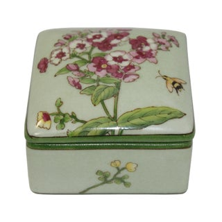 Contemporary Honey Bee and Flower Painting Square Porcelain Box - Jewelry Box Preview