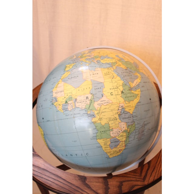 A J Nystrom & Co. 1968 Standing Library Globe For Sale - Image 10 of 12