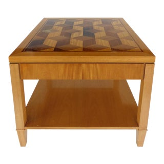 Mid-Century Baker Inlaid Geometric Design Side Table