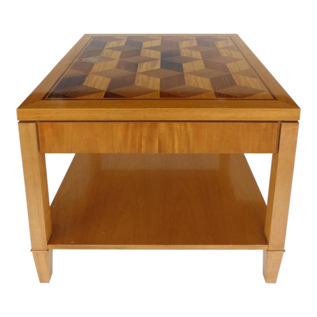 Mid-Century Baker Inlaid Geometric Design Side Table For Sale