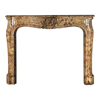 Antique Louis XV Marble Mantel in Breche d'Alep Marble For Sale