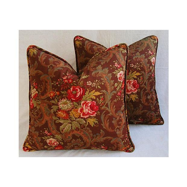 "Pair of large custom-made pillows in vintage soft linen-blend fabric from American Folk & Fabrics called ""Kings Muir..."