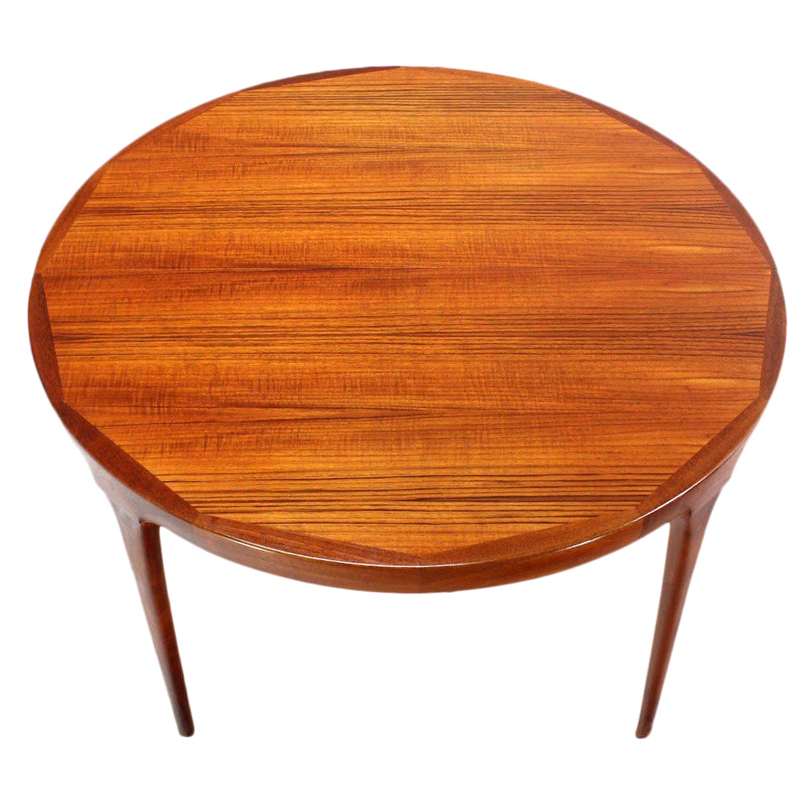 Danish Mid-Century Modern Round Teak Dining Table with Two Leaves