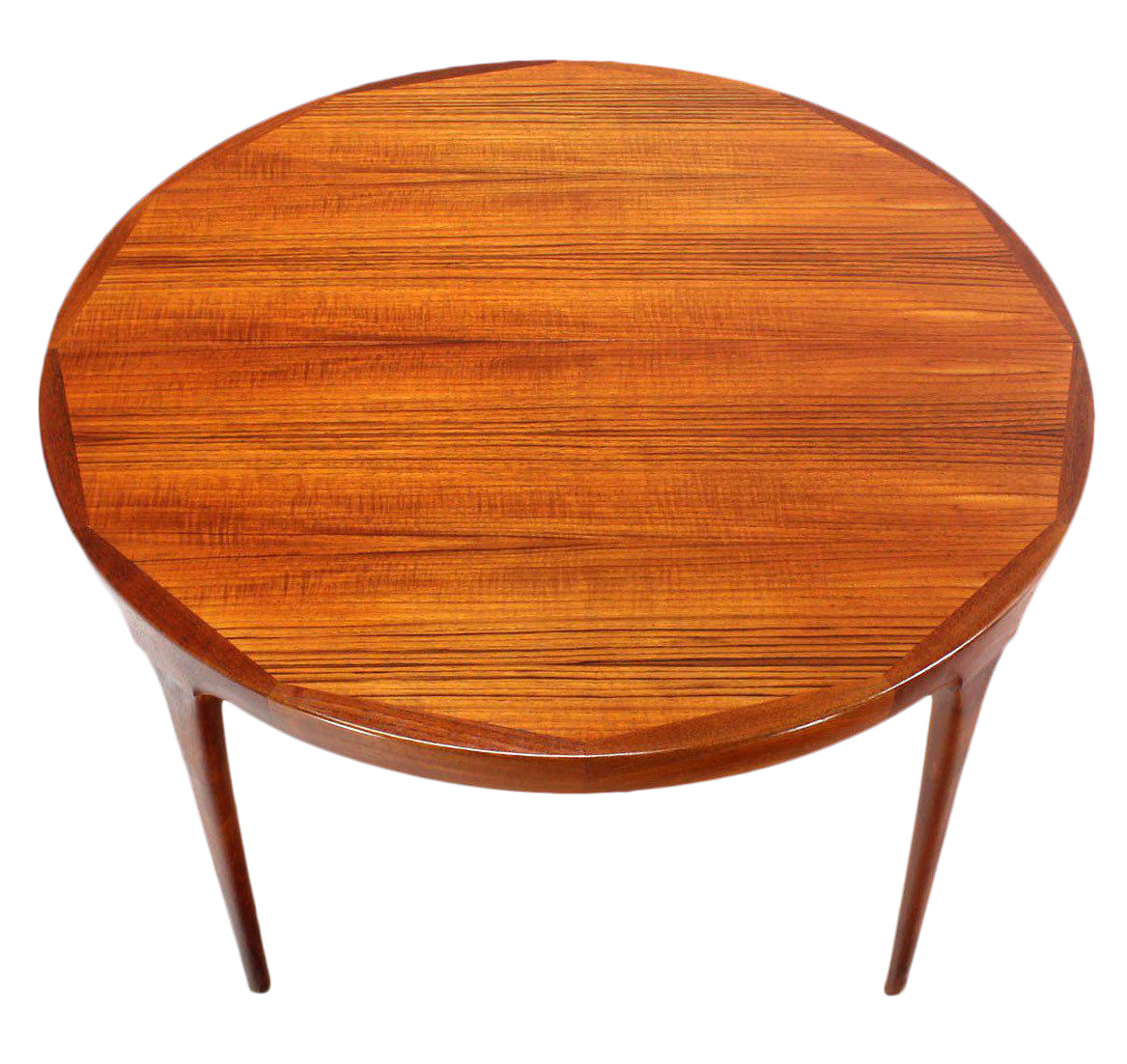 Danish Mid Century Modern Round Teak Dining Table With Two Leaves