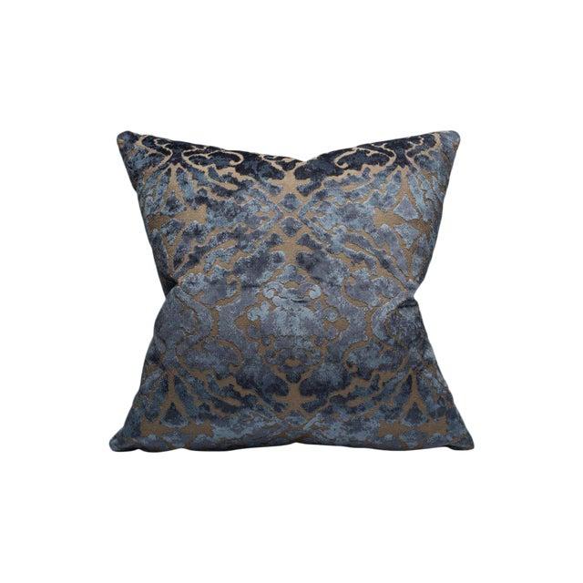 Palazzo Velvet Pillow, Indigo For Sale