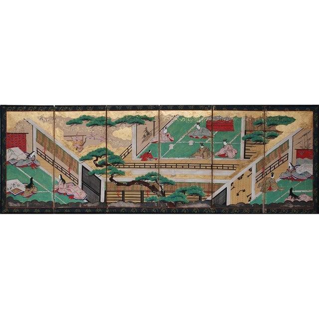 17th C. Japanese the Tale of Genji Byobu Screen For Sale