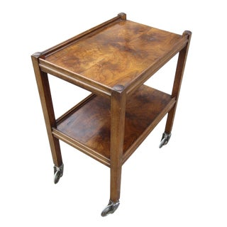 Mid-Century Walnut Bar Cart For Sale