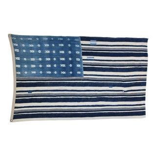 Haute Bohemian Indigo Blue & White African Textile Flag Throw For Sale