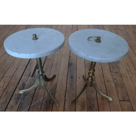 Vintage Round Marble and Brass Tea Tables - a Pair For Sale In Madison - Image 6 of 8