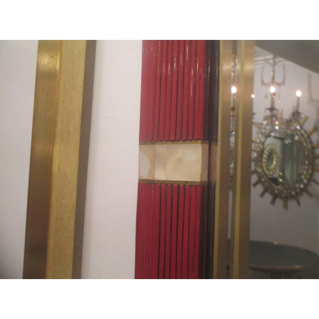 Mid 20th Century Octagonal Mother-of-Pearl Inlaid Lacquered Mirror For Sale - Image 5 of 6