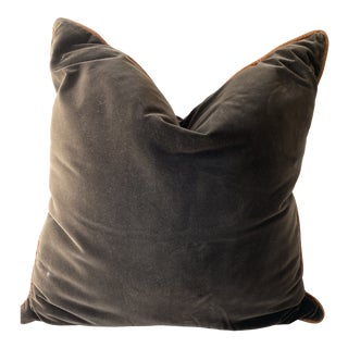 Chocolate Brown Velvet Pillow With Cognac Leather Trim For Sale
