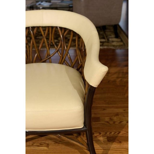 Stunning Pair of Rattan Club Chairs in Parchment Leather For Sale In Atlanta - Image 6 of 9