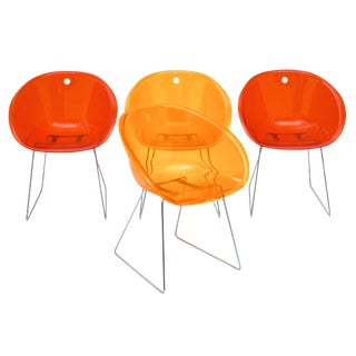 Set of Four Lucite Bucket Chairs For Sale