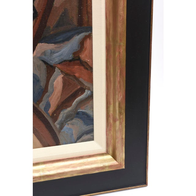 1930s Signed French Suzanne Bertillon Art Deco Oil On Canvas Custom Framed Painting For Sale - Image 5 of 11