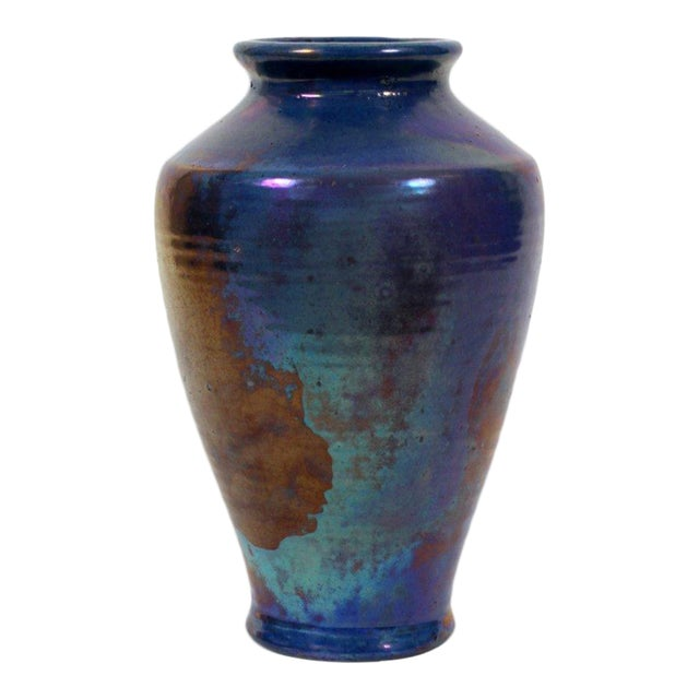 Pewabic Vintage Iridescent Blue Vase For Sale