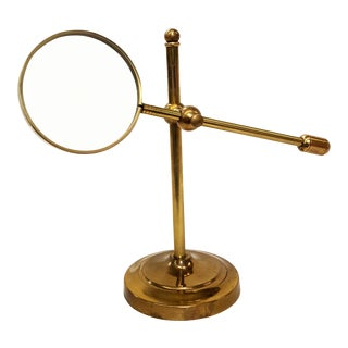 Brass Industrial Magnifier on Stand With Adjustable Arm For Sale