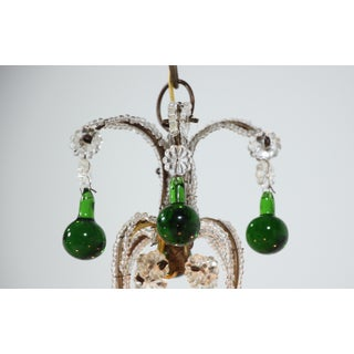 Italian Vintage Beaded Chandelier With Emerald-Green Drops Preview
