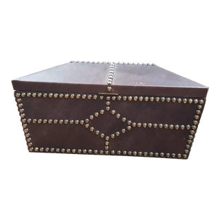 Leather and Wood Custom Made Czech Cigar Box For Sale