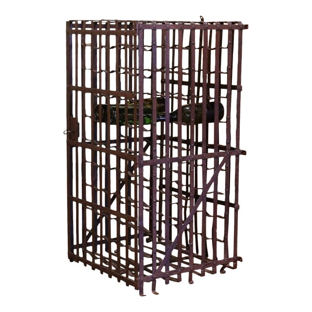 19th Century French Iron Hundred-Bottle Wine Rack Cabinet From Burgundy For Sale