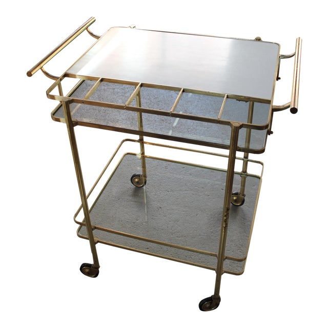 Vintage Mid-Century Brass and Glass Bar Cart - Image 1 of 9