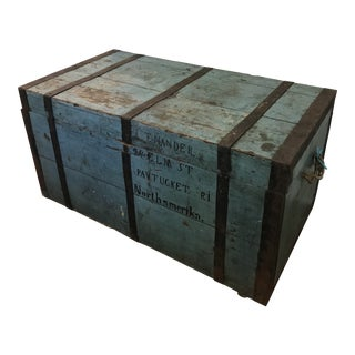 1900s Primitive Shipping Trunk For Sale