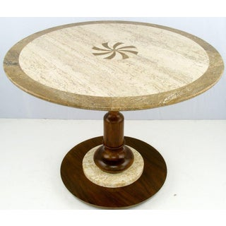 Walnut and Travertine Side Table With Marquetry Center Preview