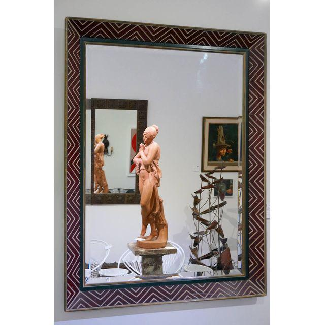 Art Deco Egyptian Revival Style Incised Chevron Pattern Frame Wall Mirror - Image 6 of 6
